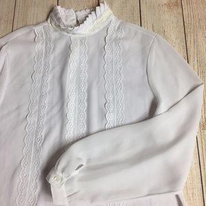 JOANNA Blouse XL Womens Long Sleeve Lace Trim VTG